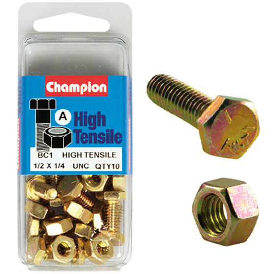 Champion High Tensile Bolts and Nuts - UNC 1 / 2inch X 1 / 4inch, , scaau_hi-res