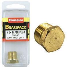 Champion Hex Taper Plug - 3 / 8inch, Brass, , scaau_hi-res