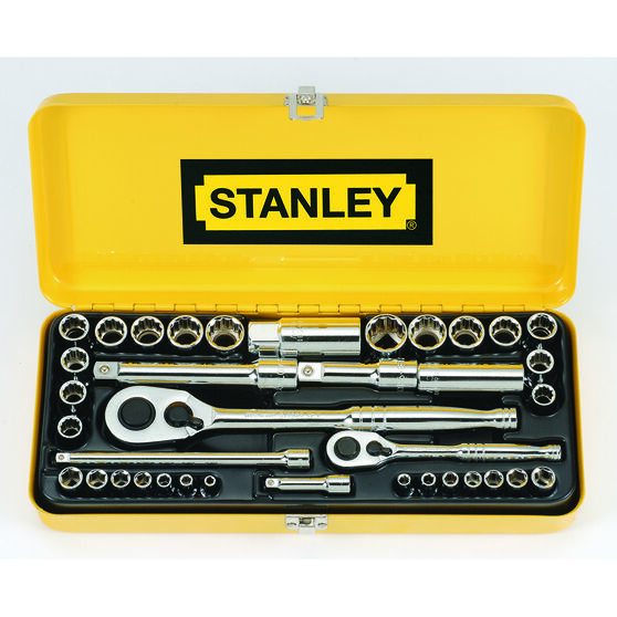 "Stanley Socket Set - 1/4"" and 1/2"" Drive, Metric & Imperial, 37 Piece, , scaau_hi-res"