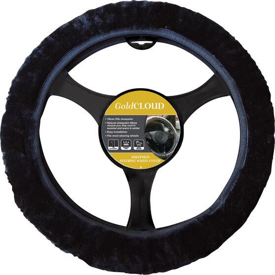 Cloud Steering Wheel Cover - Sheepskin, Black, 380mm diameter, , scaau_hi-res