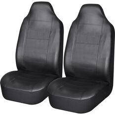 Leather Look Seat Covers - Black, Built-in Headrests, Size 60, Front Pair, Airbag Compatible, , scaau_hi-res
