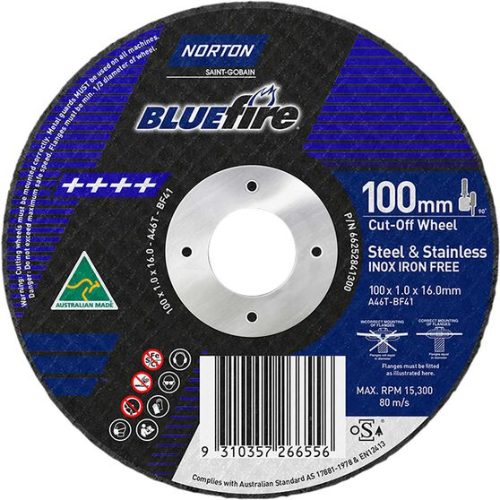 Norton Metal Cut off Disc 100mm x 1.0mm x 16mm, , scaau_hi-res