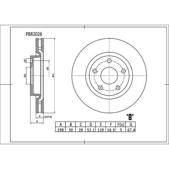 Bosch Disc Brake Rotor - PBR2026, , scaau_hi-res