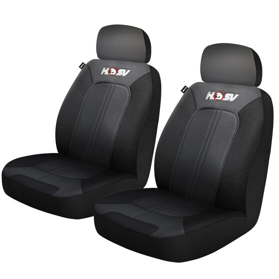 HSV Quest Leather Look Seat Covers - Black/Grey Adjustable Headrests Size 30 Front Pair Airbag Compatible, , scaau_hi-res