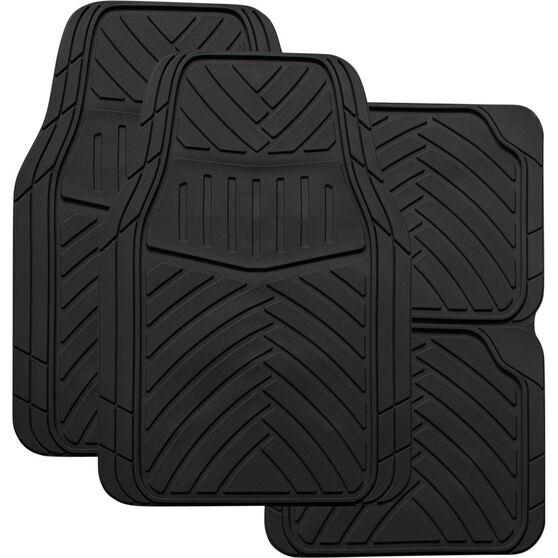 SCA Stripes Car Floor Mats - Synthetic Rubber, Black, Set of 4, , scaau_hi-res