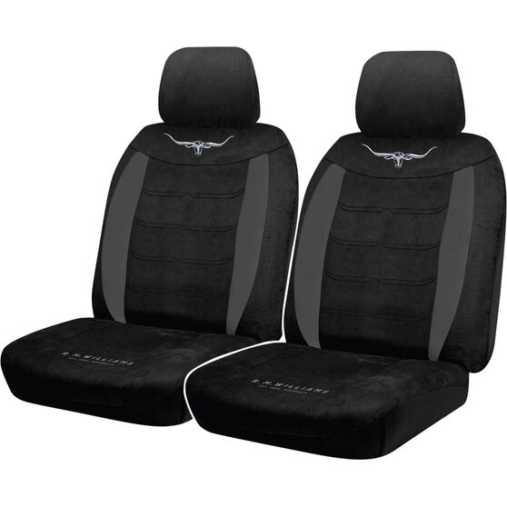 R.M.Williams Suede Velour Seat Covers - Black Adjustable Headrests Size 30 Front Pair Airbag Compatible, , scaau_hi-res