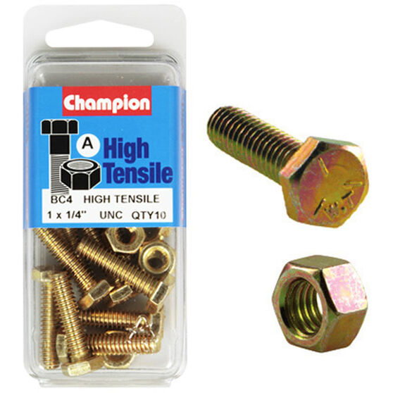 Champion High TensileBolts and Nuts - UNC 1inch X 1 / 4inch, , scaau_hi-res