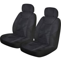 Ridge Ryder Heavy Duty Rip-X Seat Covers - Black, Adjustable Headrest, Airbag Compatible, , scaau_hi-res