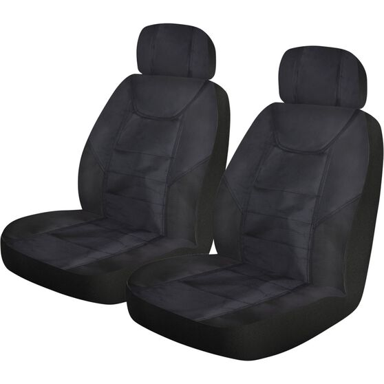 Ridge Ryder Heavy Duty Rip-X Canvas Seat Covers - Black, Adjustable Headrest, Airbag Compatible, , scaau_hi-res