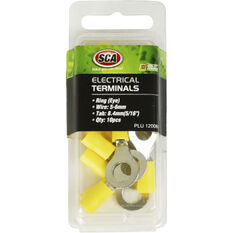 SCA Electrical Terminals - Ring (Eye), Yellow, 8.4mm, 10 Pack, , scaau_hi-res