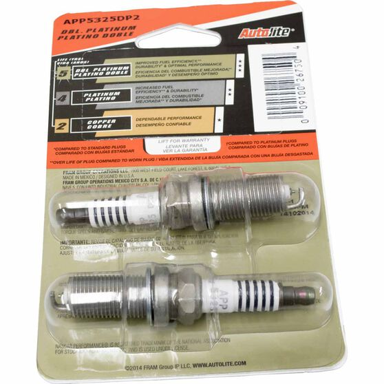 Autolite Double Platinum Spark Plug - APP5325DP2, 2 Pack, , scaau_hi-res