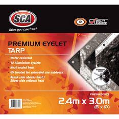 SCA Premium Poly Tarp - 2.4m X 3.0m (8 X 10), 185GSM, Silver, , scaau_hi-res
