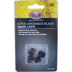 SCA Valve Caps - Anodized Black, 4 Piece, , scaau_hi-res