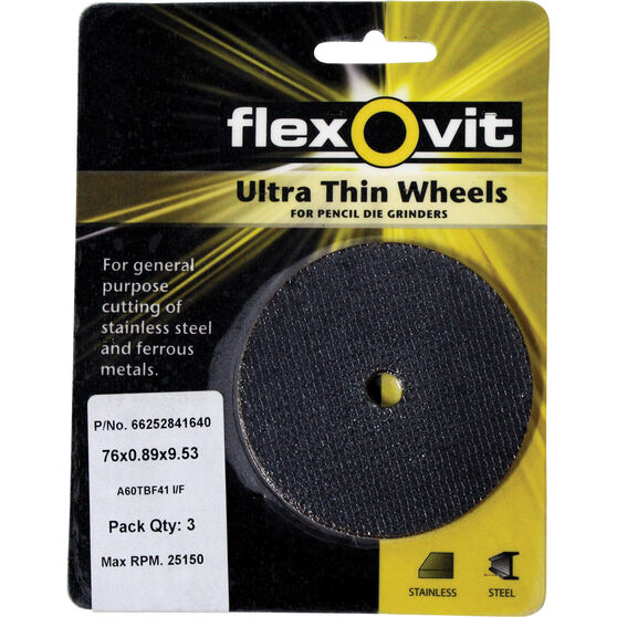 Flexovit Cut Off Wheel - 76mm x 0.89mm x 9.53mm, 3 Pack, , scaau_hi-res
