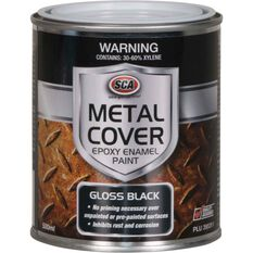 Metal Cover Rust Paint - Enamel, Gloss Black, 500mL, , scaau_hi-res