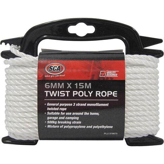 SCA 3 Strand Twist Poly Rope - 6mm X 15m, , scaau_hi-res
