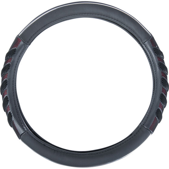 SCA Steering Wheel Cover - Leather Look & Rubber, Black and Red, 380mm diameter, , scaau_hi-res