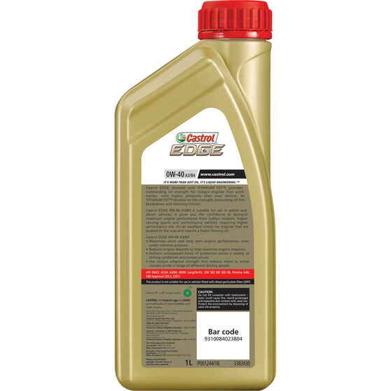 Castrol Edge Engine Oil - 0W-40 1 Litre, , scaau_hi-res