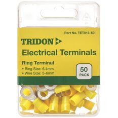 Tridon Electrical Terminals - Ring (Eye), Yellow, 6.4mm, 50 Pack, , scaau_hi-res