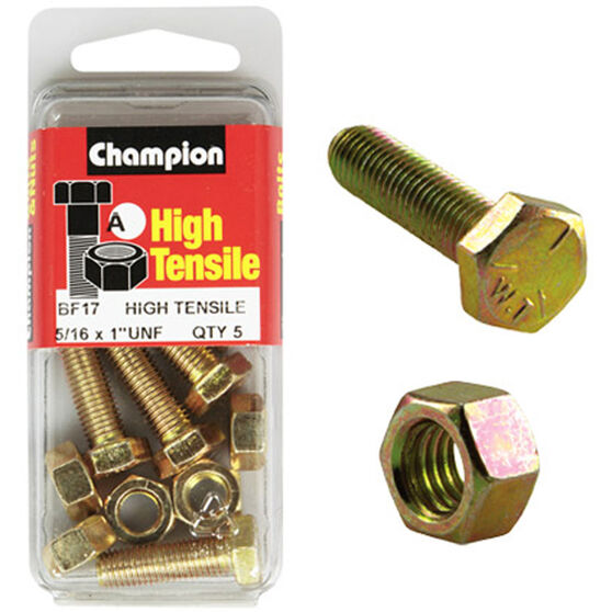 Champion High Tensile Bolts and Nuts - UNF 1inch X 5 / 16inch, , scaau_hi-res