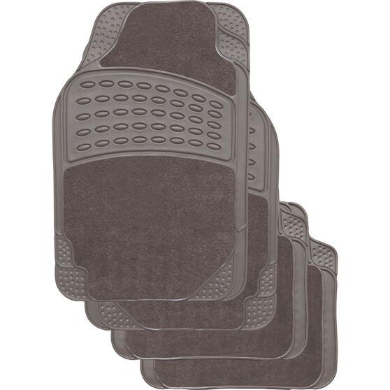 SCA Combo Car Floor Mats - Carpet / Rubber, Grey, Set of 4, , scaau_hi-res