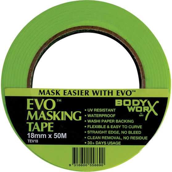 Bodyworx EVO Masking Tape - 18mm x 50m, , scaau_hi-res