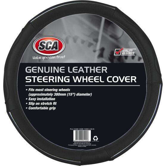 SCA Steering Wheel Cover - Leather, Black, 380mm diameter, , scaau_hi-res