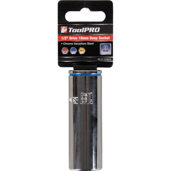 ToolPro Single Socket - Deep, 1 / 2 inch Drive, 18mm, , scaau_hi-res