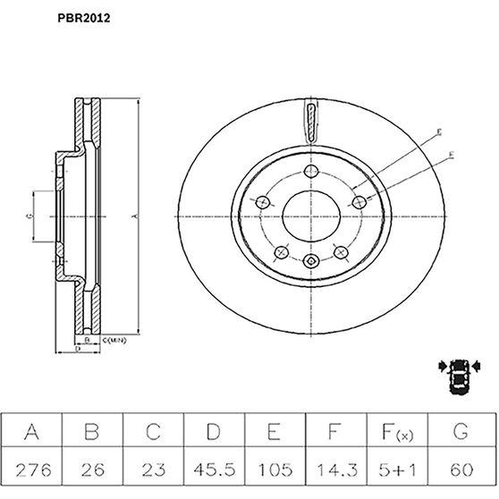 Bosch Disc Brake Rotor PBR2012, , scaau_hi-res