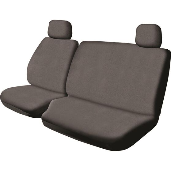 SCA Canvas Ute Seat Cover - Charcoal, Size 401, Front Bucket and Bench (with cut out), , scaau_hi-res