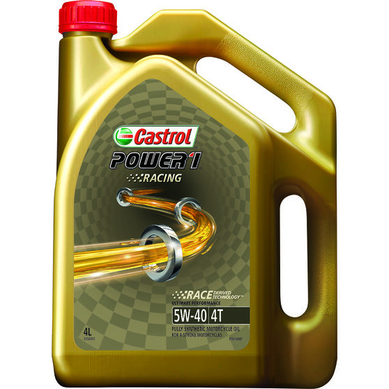 Castrol Power 1 Racing Motorcycle Oil - 5W-40, 4 Litre, , scaau_hi-res