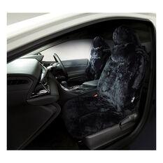 Platinum Cloud Sheepskin Seat Covers - Black Built-in Headrests Size 60 Front Pair Airbag Compatible Black, Black, scaau_hi-res