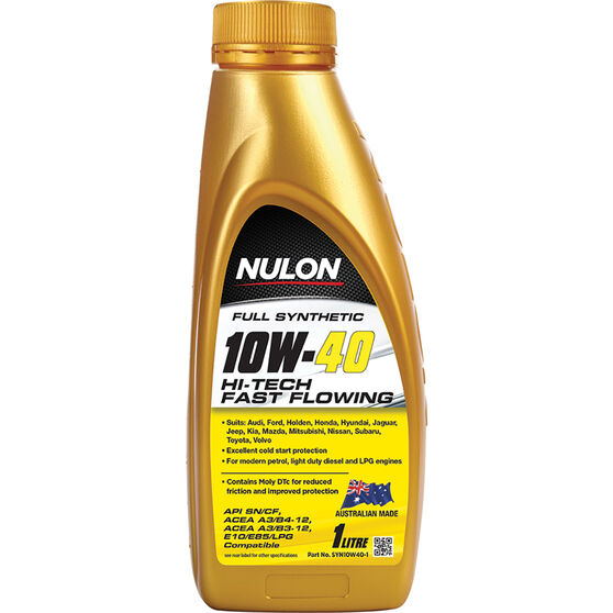 Nulon Full Synthetic Hi-Tech Fast Flowing Engine Oil 10W-40 1 Litre, , scaau_hi-res
