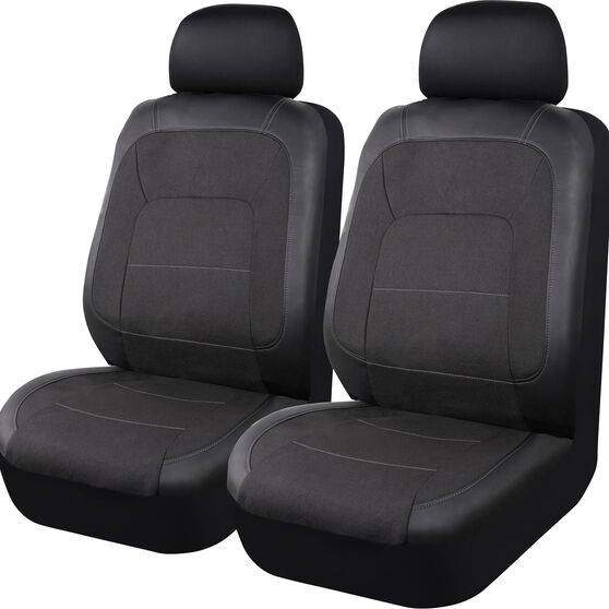 SCA PU Leather Look and Linen Look Seat Covers - Black Adjustable Headrests Airbag Compatible Size 30, , scaau_hi-res