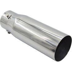 Calibre Stainless Steel Exhaust Tip - Straight Cut Tip suits 40mm to 52mm, , scaau_hi-res