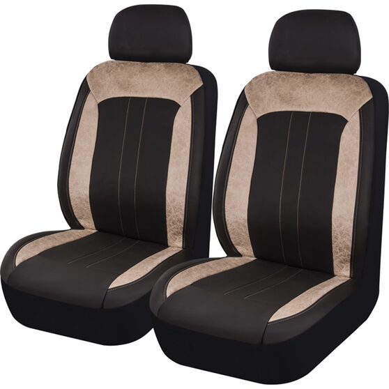 SCA Velour & Leather Look Seat Covers - Black and Tan, Adjustable Headrests, Size 30, Front Pair, Airbag Compatible, , scaau_hi-res
