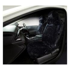 Platinum Cloud Sheepskin Seat Covers - Black Adjustable Headrests Size 30 Front Pair Airbag Compatible Black, Black, scaau_hi-res