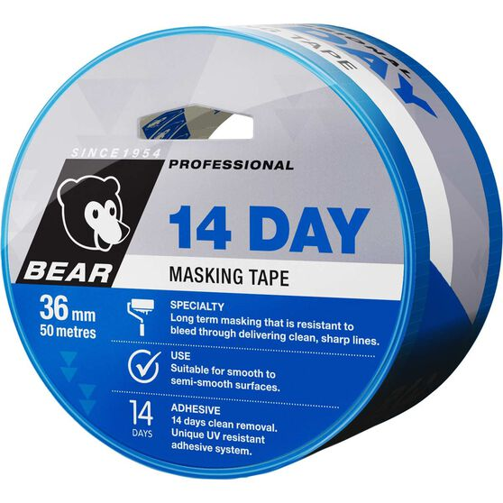 Norton 14 Day Masking Tape - Blue, 36mm x 50m, , scaau_hi-res