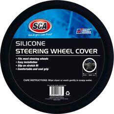 Steering Wheel Cover - Silicone, Black, 380mm, , scaau_hi-res