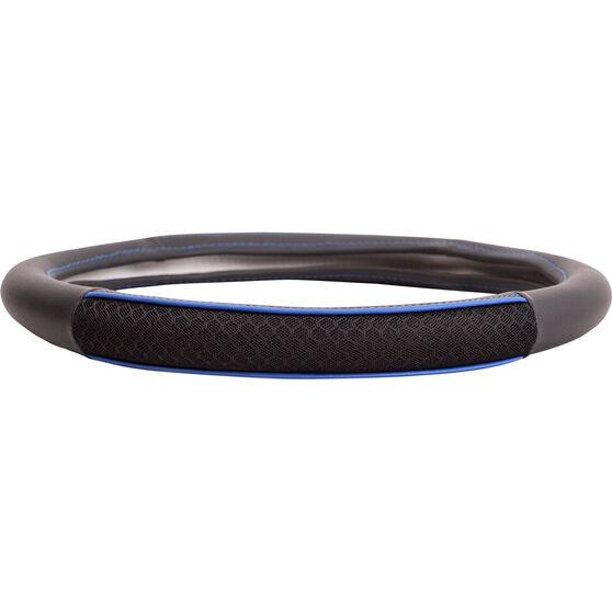 SCA Steering Wheel Cover - PU and Mesh, Black / Blue, 380mm diameter, , scaau_hi-res