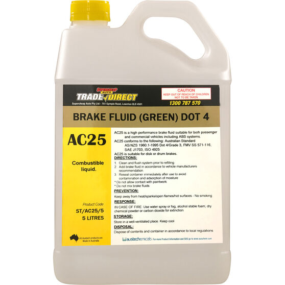 Trade Direct Brake Fluid DOT 4 - 5 Litre, , scaau_hi-res