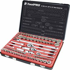 "ToolPRO Socket Set 1/4"", 3/8"" & 1/2"" Drive Metric/SAE 81 Piece, , scaau_hi-res"