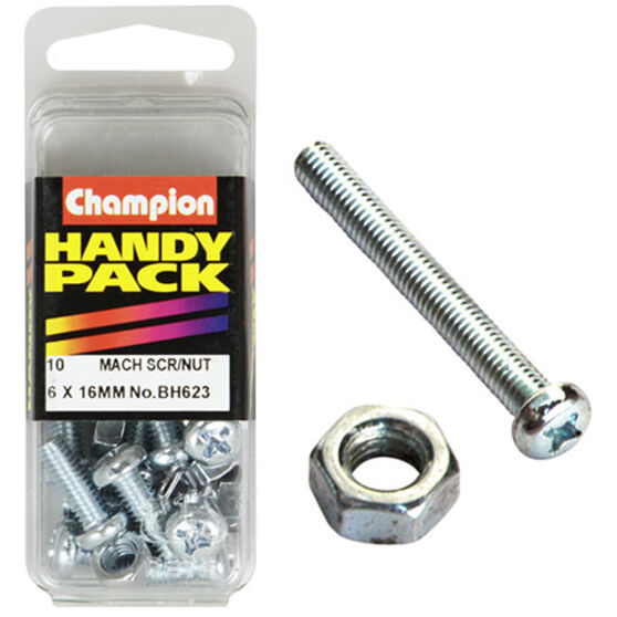 Champion Mach Screws / Nuts - 6mm X 16mm, BH623, Handy Pack, , scaau_hi-res