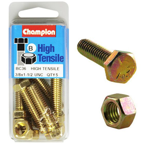Champion High Tensile Bolts and Nuts - UNC 1-1 / 2inch X 3 / 8inch, , scaau_hi-res