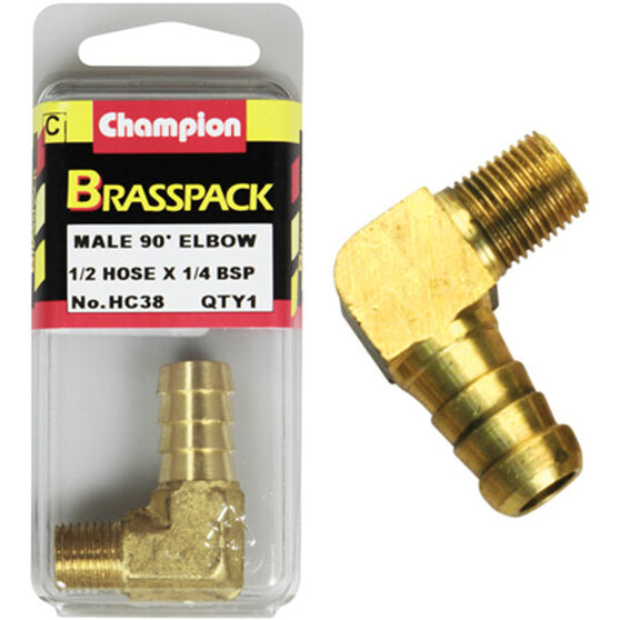 Champion Male Elbow 90° - 1/2 x 1/4 Inch, Brass, , scaau_hi-res
