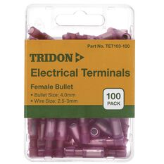 Tridon Electrical Terminals - Female Bullet, Red, 4mm, 100 Pack, , scaau_hi-res