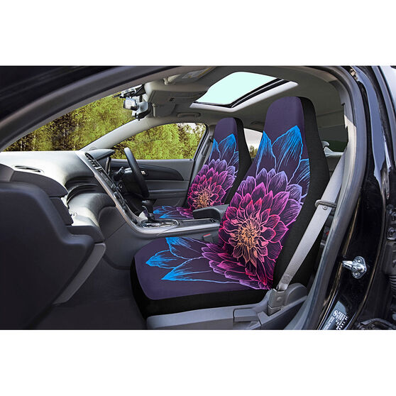 SCA Colourful Flower Seat Covers - Built-in Headrests Size 60 Airbag Compatible, , scaau_hi-res