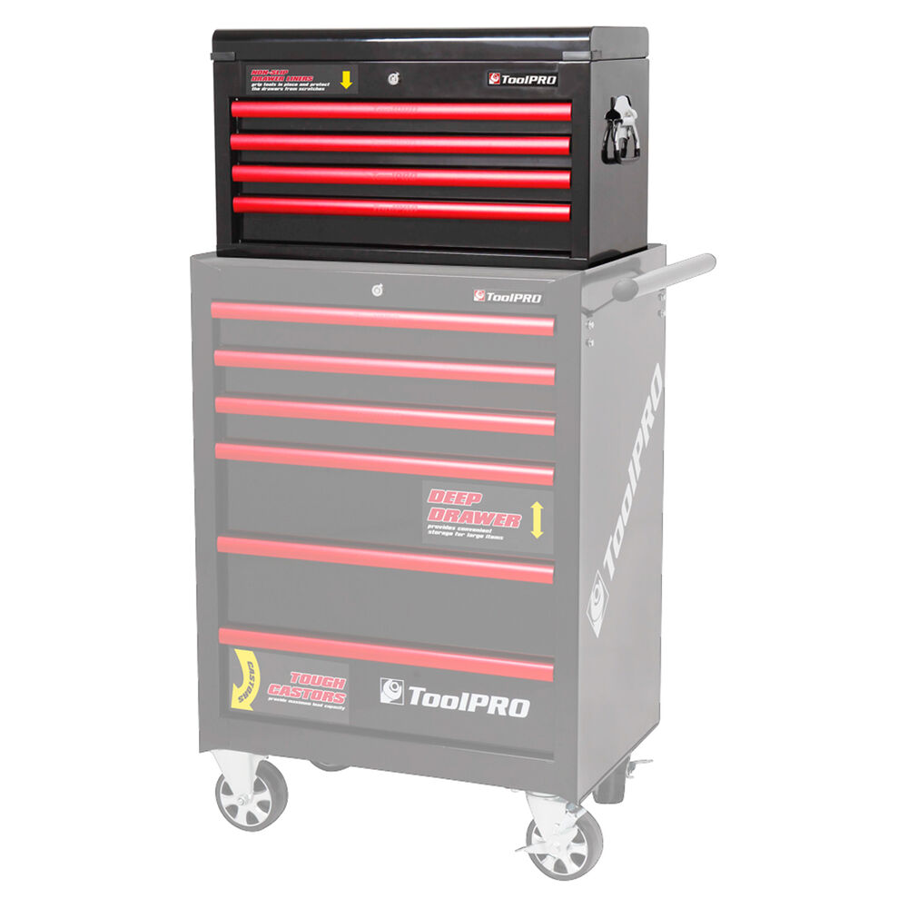 Toolpro Tool Cabinet 4 Drawer Top Chest Black 26 Inch