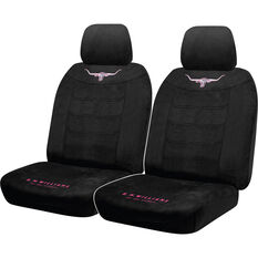 Sperling R.M.Williams Jillaroo Suede Velour Seat Covers - Black, Adjustable Headrests, Airbag Compatible, , scaau_hi-res