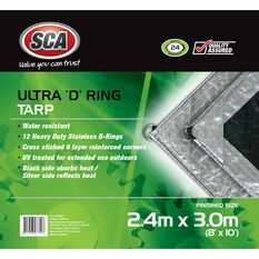SCA Ultra D-Ring Poly Tarp - 2.4m X 3.0m (8 X 10), 205GSM, Silver, , scaau_hi-res